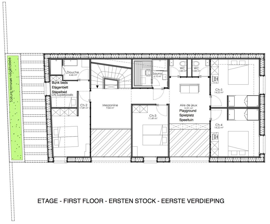Plan de l'étage du gîte O'Connel Lodge