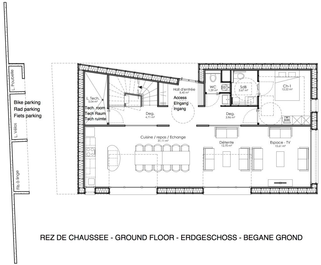 Plan du rez de chaussée du gîte O'Connel Lodge