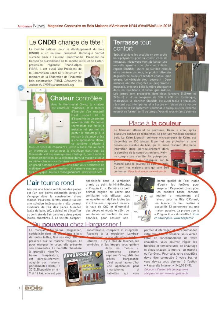 Magazine Construire en Bois Maisons d'Ambiance N°44 d'Avril/Mai/Juin 2015